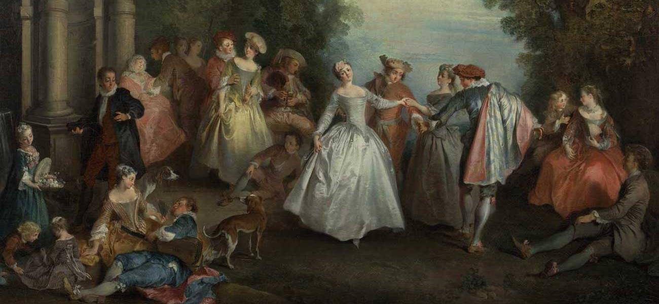 Nicolas Lancret (French, 1690 - 1743) Dance before a Fountain, by 1724, Oil on canvas 97.8 x 130.8 cm (38 1/2 x 51 1/2 in.) The J. Paul Getty Museum, Los Angeles